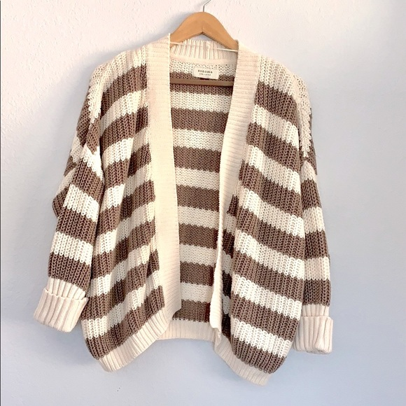 SONOMA Chunky Knit Striped Open Front Cardigan